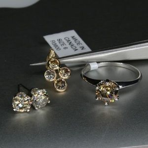 14k champagne diamond set (Ring Necklace, Earring)